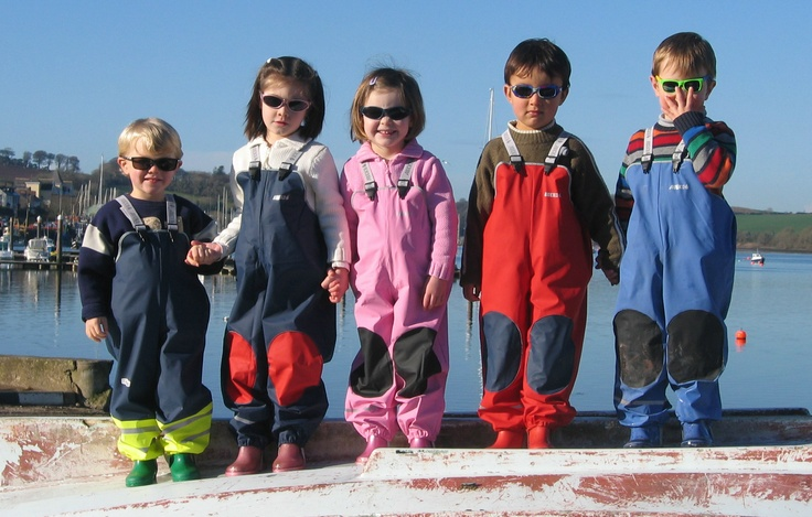 Five-in-a-Row Kids showing off our Everyday Dungarees