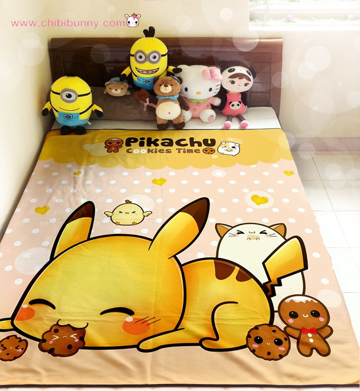 this design features cute pikachu pokemon with kawaii animals and cookies on orange and