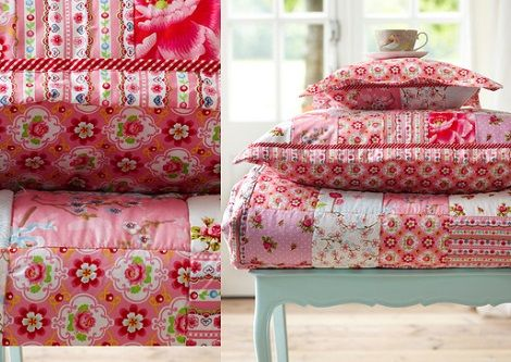 Pip sprei Chinese Blossom Patch kleur :pink  maat:  150 x 200, 180 x 220cm