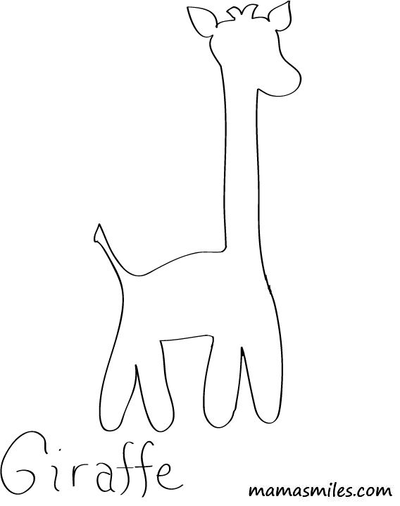 Easy Giraffe Sewing Pattern and Giraffe Coloring Page
