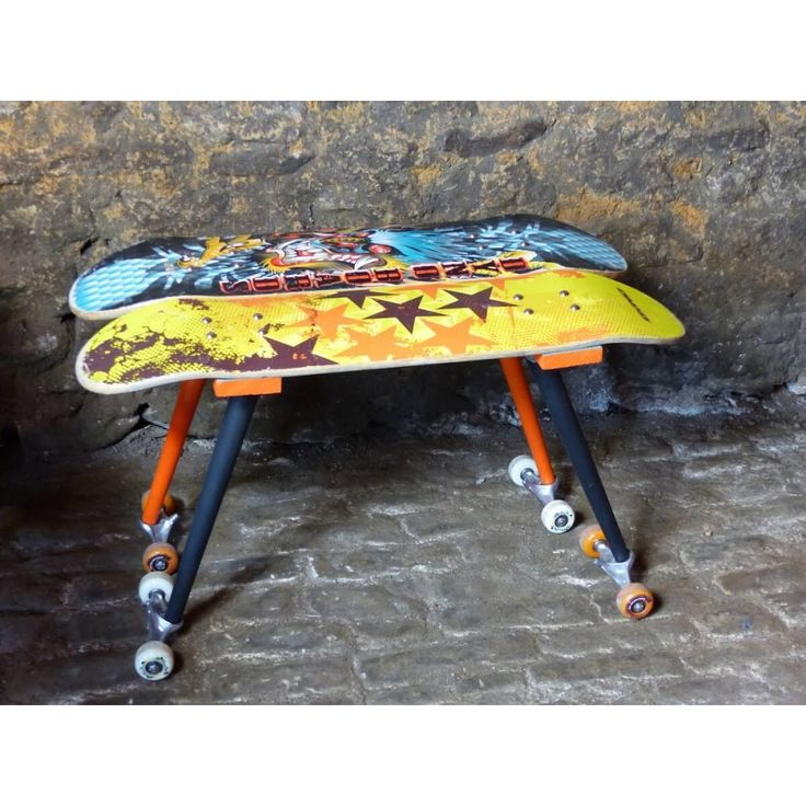Skateboard Side Table. Recycled table made on the Money for Nothing TV show by presenter Sarah Moore. 87 pounds
