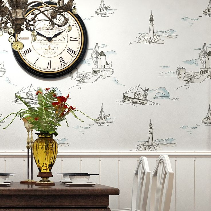 (38.28$)  Watch here - http://ai6h1.worlditems.win/all/product.php?id=32780874186 - Mediterranean sailing lighthouse sailing non - woven wall children 's room living room bedroom restaurant background wallpaper