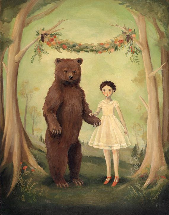 Fairy tale art the Black Apple at http://www.etsy.com/listing/127929645/in-the-spring-she-married-a-bear-large