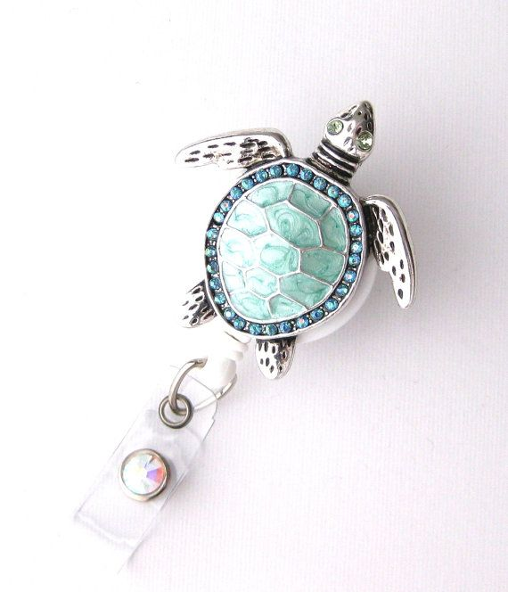 Sea Turtle Bling  Pretty Badge Holder  Unique Badge by BadgeBlooms, $18.00....how pretty, if you have to wear a badge or an ID card