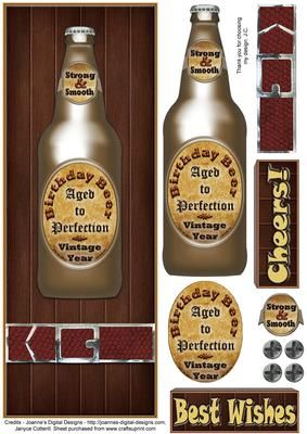 Cheers  on Craftsuprint designed by Janyce Cotterill - One for the guys! Bottled beer on a wood effect background. Easy items to layer. On the beer bottle you have the words - Strong and Smooth, Birthday Beer, Aged to Perfection, Vintage Year. The greetings are designed and sized to fit below the snake skin effect belt they say Cheers! or Best Wishes.There are some extra screw heads for you to embellish the design or insert or envelope.You will also find available a matching insert to…