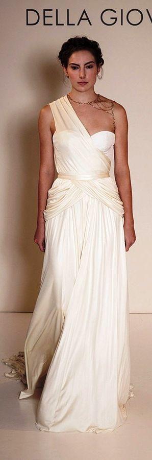 Della Giovanna wedding dress 2015 bridal silk knit jersey one shoulder draped corset zoey silk knit jersey gercian draped skirt