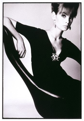 Jean Shrimpton by David Bailey, 1963. Look how he's captured the fluid lines of the chair, dress and body.