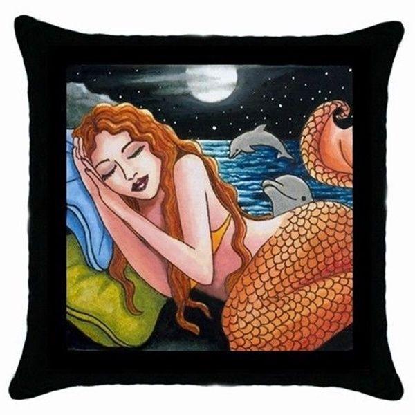 Throw Pillow Case black Cushion Cover Mermaid 42 dolphin art by L.Dumas #Unbranded