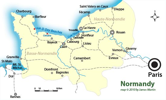 Map of Normandy in France showing D-Day Beaches and town in Normandy to visit