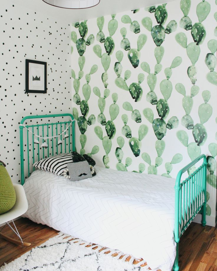Shared Boys Room with Cactus Wallpaper and Green Twin Bed - Project Nursery