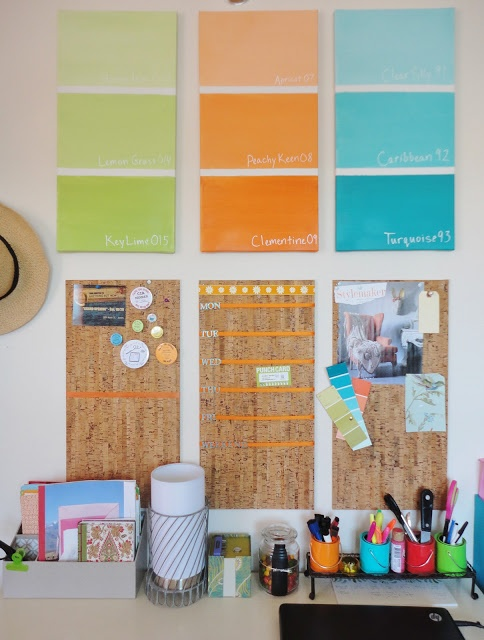 Love the idea of painting canvases with paint samples. Would make great decor for a dorm room where you can't paint the walls!