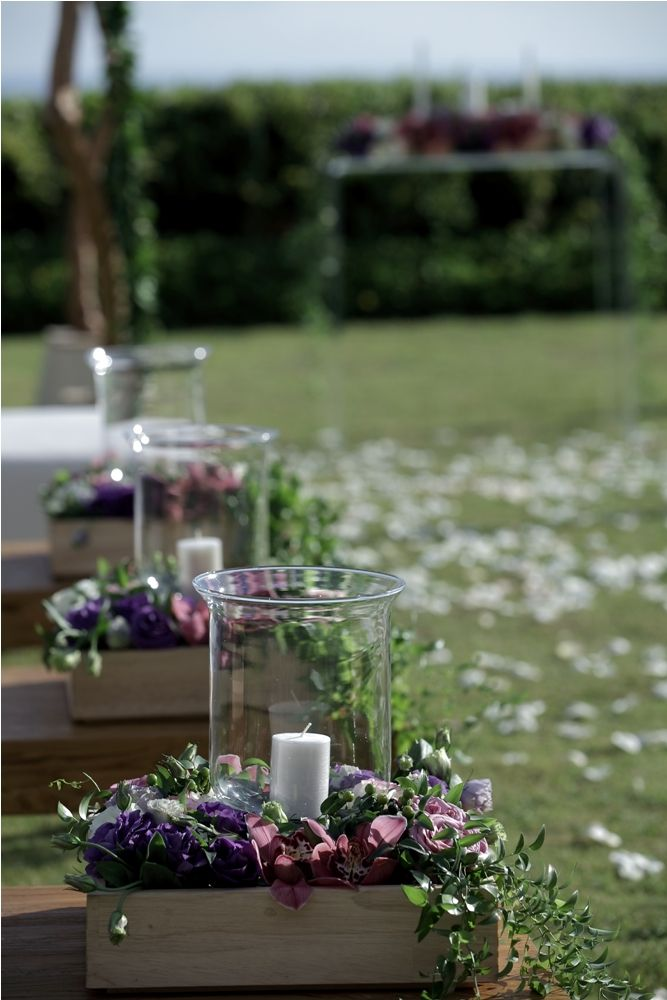 Boxed flower with candle - aisle decoration by Tirtha Bridal Uluwatu Bali #outdoor #garden #wedding