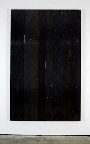 "Gregor Hildebrandt, ""The rip (Portishead)"", 2009, cassette tape on canvas, 274 x 174 cm"