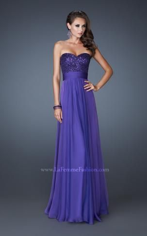 La Femme 18584 | I would like it in navy blue for my maids! So pretty and sparkly.