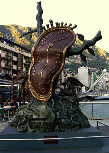 "Clock Hourglass Time:  ""The Nobility of Time,"" by Salvador Dalí, Piazza Rotonda, Andorra La Vella, Andorra."