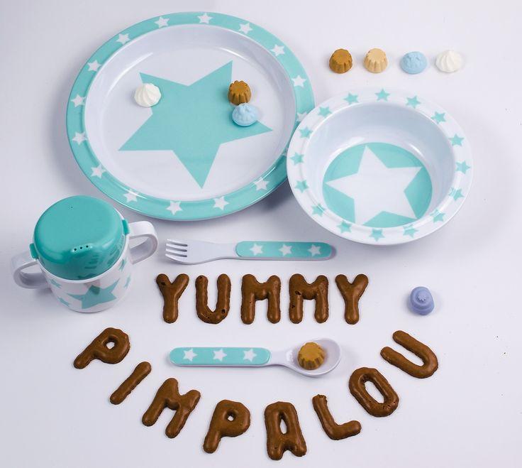 Pimpalou Kinder Geschirr aus Melamin im Set mit Sternen in grau / rosa / hellblau / mint