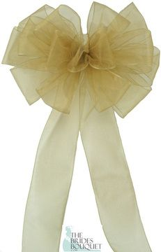 Add some romantic ribbons to your wedding!! Our Pew Bows Gold Sheer are sold in sets of 4 bows and we offer 15 different colors to choose from. Each bow is made with 15 loops and 2 tails of 2 1/2 inch ribbon.