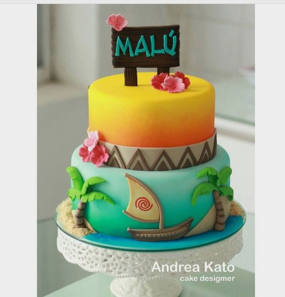In love with her work - a great idea for a Moana cake! - by Andrea Kato Cake Designer. - bolomoana - moanacake - festamoana - moanaparty.