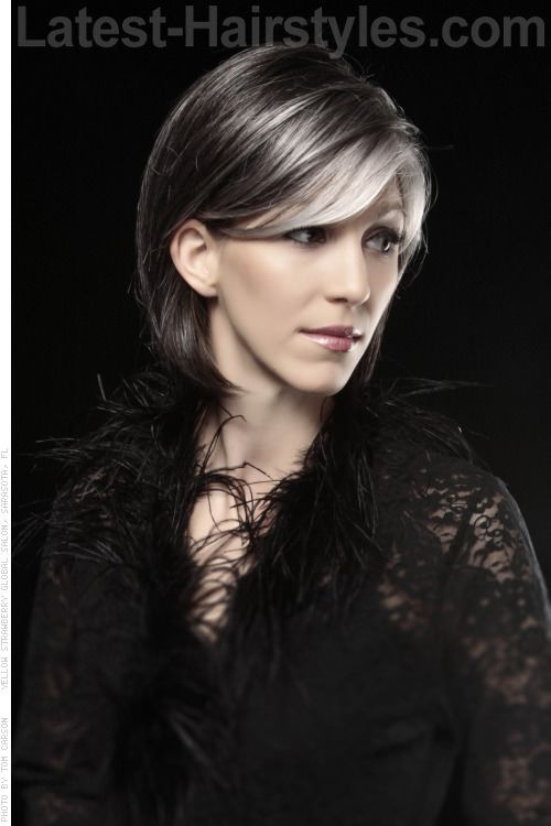 Silver Highlights on Cool Brunette Side- I like the color contrast and placement.