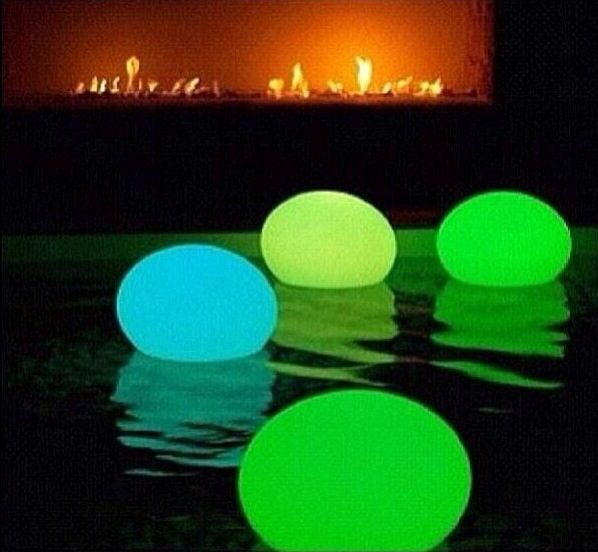 Put a glow stick in a ballon and let them float in the pool. Party decor, summer, winter