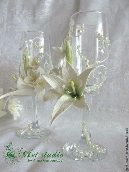 """Свадебные аксессуары ручной работы. Заказать Свадебные бокалы для шампанского """"…"""