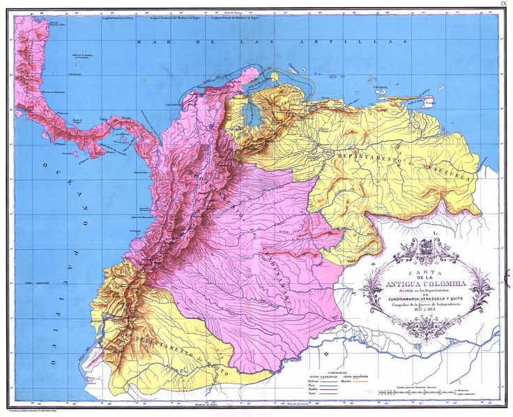 The departments of Gran Colombia in 1820