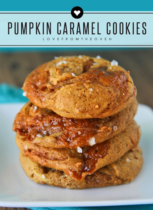 Pumpkin Caramel Cookies Topped With Sea Salt. I don't even have words ...