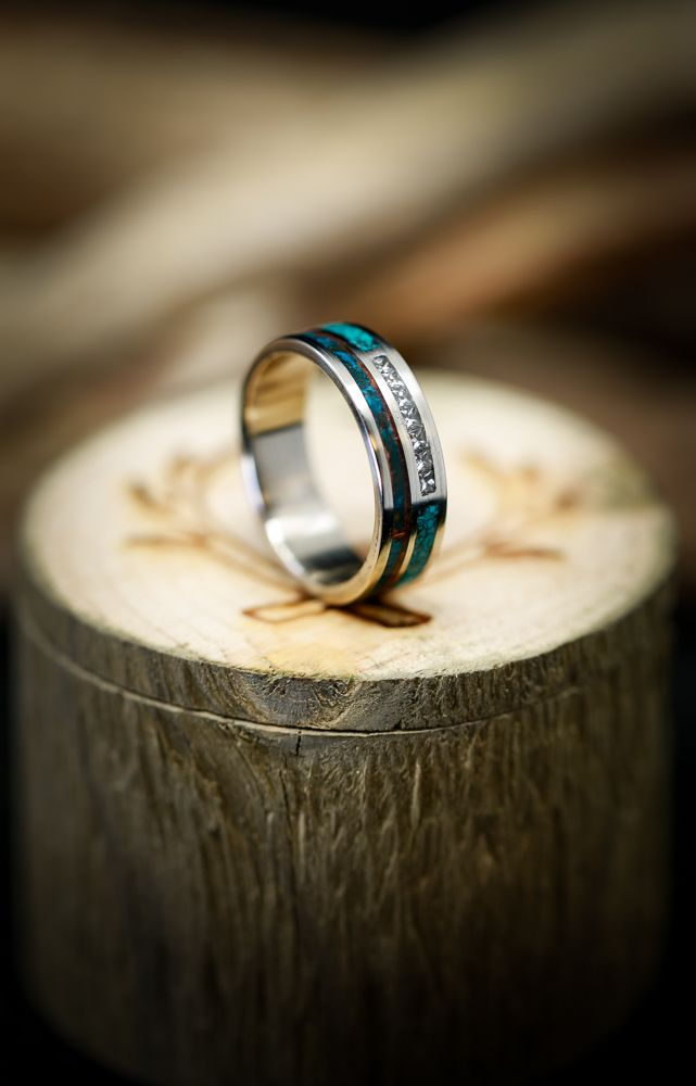 Men S Diamond Band With Patina Copper And Turquoise Inlays Available In 14k White Rose Or Ye Diamond Wedding Bands Titanium Wedding Rings Antler Wedding Band