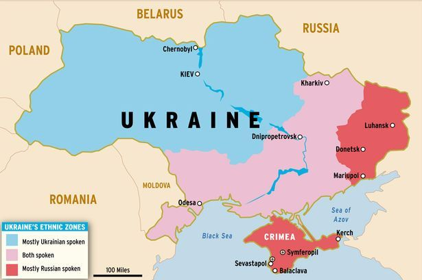 Ukraine (Listeni/juːˈkreɪn/; Ukrainian: Україна, transliterated: Ukrayina, [ukrɑˈjinɑ]) is a country in Eastern Europe.[8] It has an area of 603,628 km2 (233,062 sq mi), making it the largest country entirely within Europe.[9][10][11] Ukraine borders Russia to the east and northeast, Belarus to the northwest, Poland, Slovakia and Hungary to the west, Romania and Moldova to the southwest, and the Black Sea and Sea of Azov to the south and southeast, respectively.