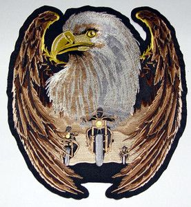 Biker Vest Patches | ... Eagle Biker Large Motorcycle Vest Back Patch Biker Patches | eBay