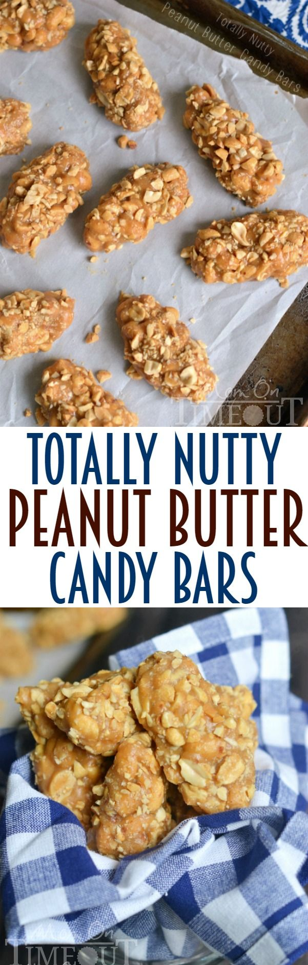 No-Bake, Easy, 4 Ingredient Totally Nutty Peanut Butter Candy Bars | MomOnTimeout.com