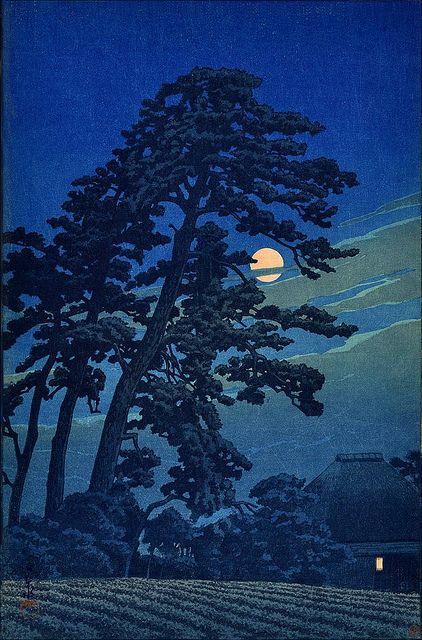 """""""Moon at Megome"""" (1930) woodblock print by Hasui Kawase"""
