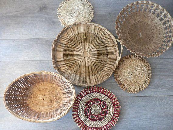 Set of 6 Boho Woven Basket Wall Decor