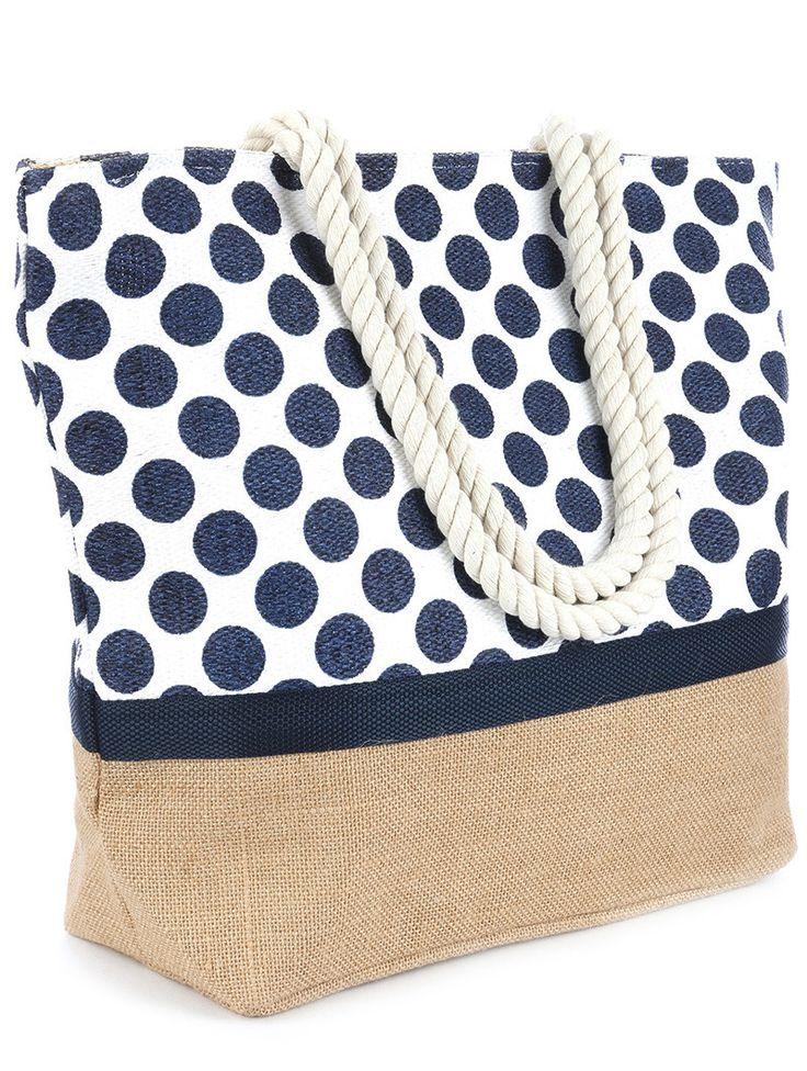 Polka Dot Print Beach Tote Accessory Bag                                                                                                                                                                                 More