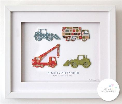 Hugs and Inspiration - On The Move, Children's Personalised Art