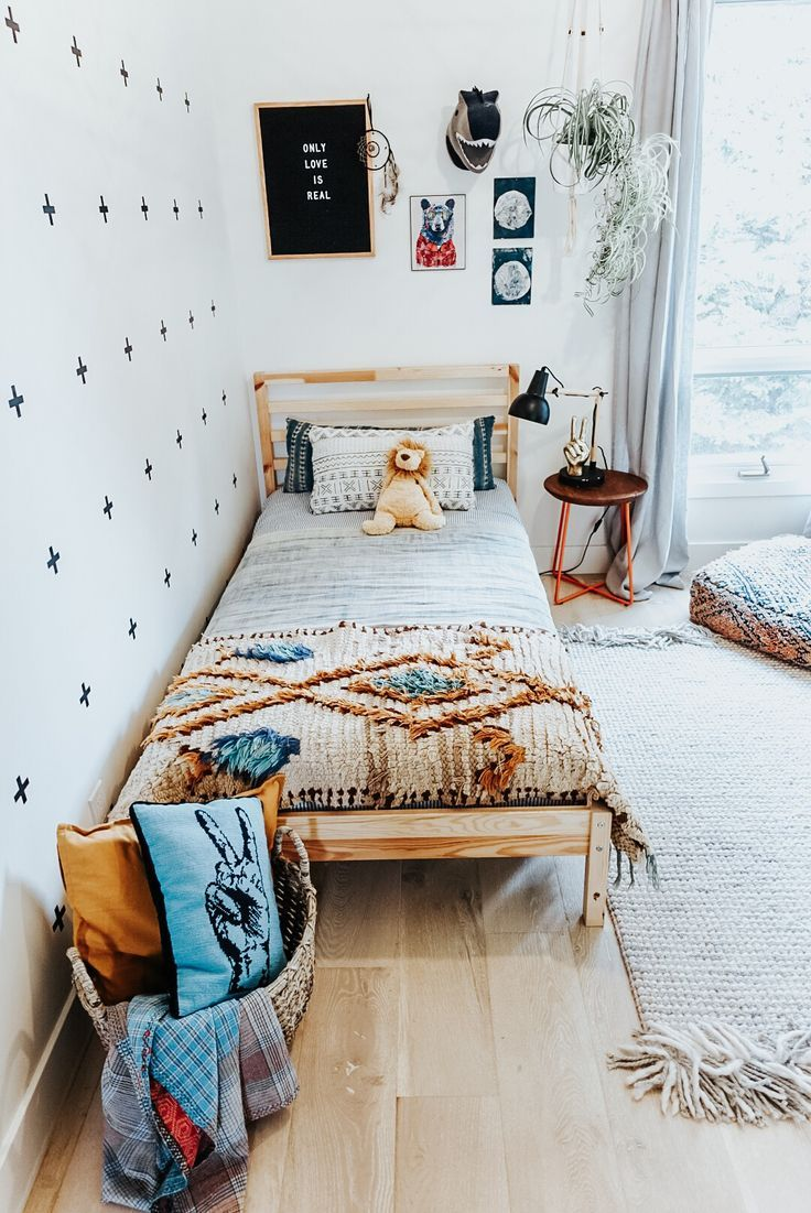 Kids Bedroom Toddler Bohemian Eclectic Moroccan Rug Decals Pouff Letterboard Mudcloth Follow Our Pinterest P Boho Toddler Room Boho Kids Room Kid Room Decor