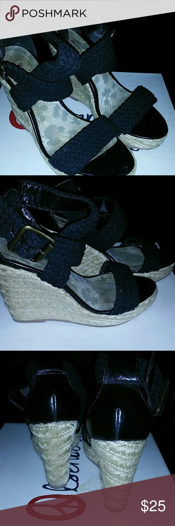 Black Espadrille wedges ( great condition ) Super cute black Espadrilles wrap around the ankle  wedges Shoes Espadrilles