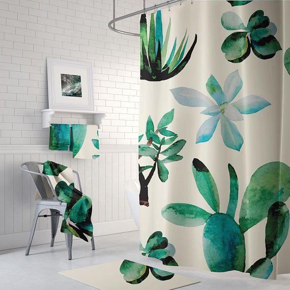 Cream Cactus Tropical Shower Curtain  succulent Shower