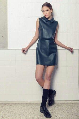 Andra Andreescu leather dress
