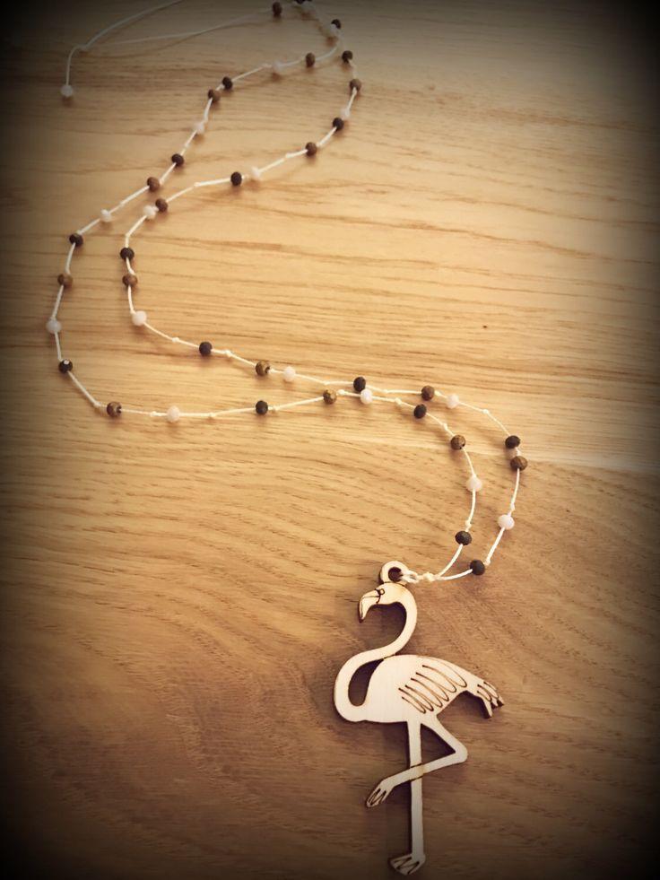 wooden charm flamingo rosary...
