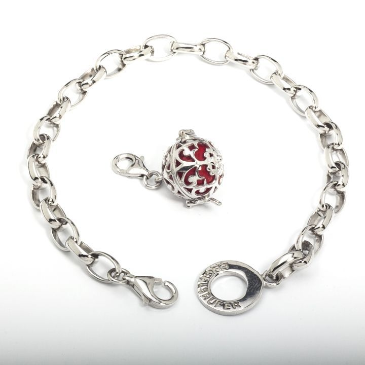 19,5cm Silver Rhodium Plated Bracelet (1299) with 14mm Silver Rhodium Plated Soundball Charm in Red (R1099)
