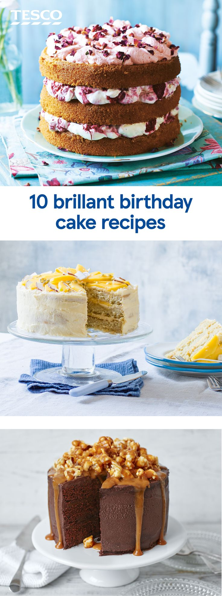 You can't have a birthday celebration without a cake, so why not whip up a homemade birthday cake that will make any party extra special. Choose from rich chocolate cakes to colourful layer cakes, and even a fruity vegan birthday cake, too. | Tesco