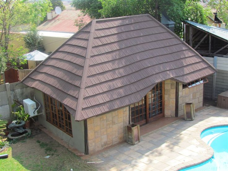 Home office, Gazebo, Lapa or House... avoid the hassles and costs and replace the thatch with Metrotile Woodshake/Thatch steel roof tiles.