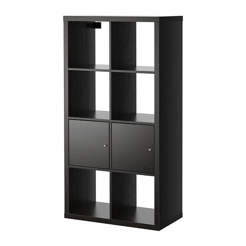 """KALLAX Shelving unit with doors - White...  30 3/8x57 7/8 """" - IKEA Paint gray and place square wicker baskets on bottom row and entertainment electronics on the top row."""