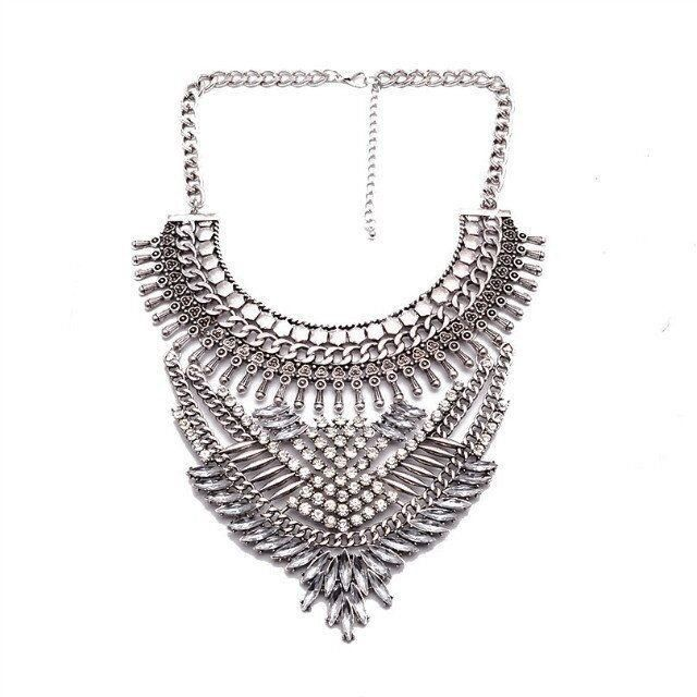 Fashion Statement Necklace - Yamileth Tribal-Inspired Bead Alloy Necklace With Rhinestones & Crystals