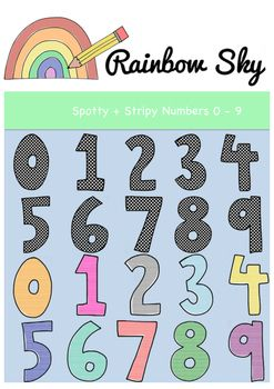 Numbers 0 - 9 Clipart Great to use in worksheets, activity stations, flashcards or posters.  With a total of 50 pieces in the set it includes: •colourful spotty numbers 0 - 9  •colourful stripy numbers 0 - 9 •Black line numbers 0 - 9 •Black line stripy numbers 0 - 9 •Black line spotty numbers 0 - 9  They are .PNG files with transparent backgrounds. All at 300 dpi for clear, crisp printing. For personal or commercial use ~ Rainbow Sky Creations ~