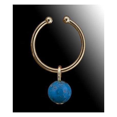 """Anneau de clitoris """"Rêve de Turquoise"""". Faux piercing en plaqué Or et Turquoise."""