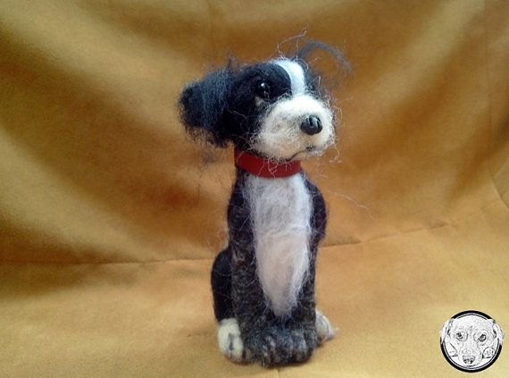 This needle felted miniature Chihuahua Soft Sculpture is felted with wool, using a felting technique.   I create my puppies out of wool,