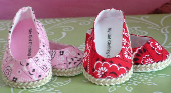 Adorable little bandana ballet flats come in your choice of pink or red. This listing is for one pair of shoes. Please choose color choice from