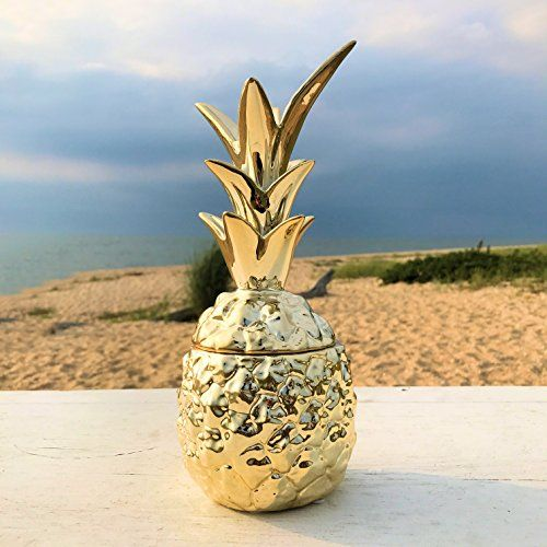 Perfect The Key West Golden Pineapple Table Top Candy Jar With Lid Tropical Art Ornament Glazed Ceramic Inches Tall By Whole House Worlds WELCOME HOME
